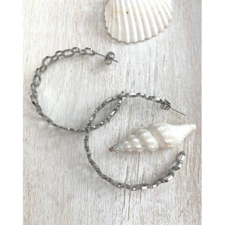 Boucle d'oreilles créoles ajourés en acier argenté