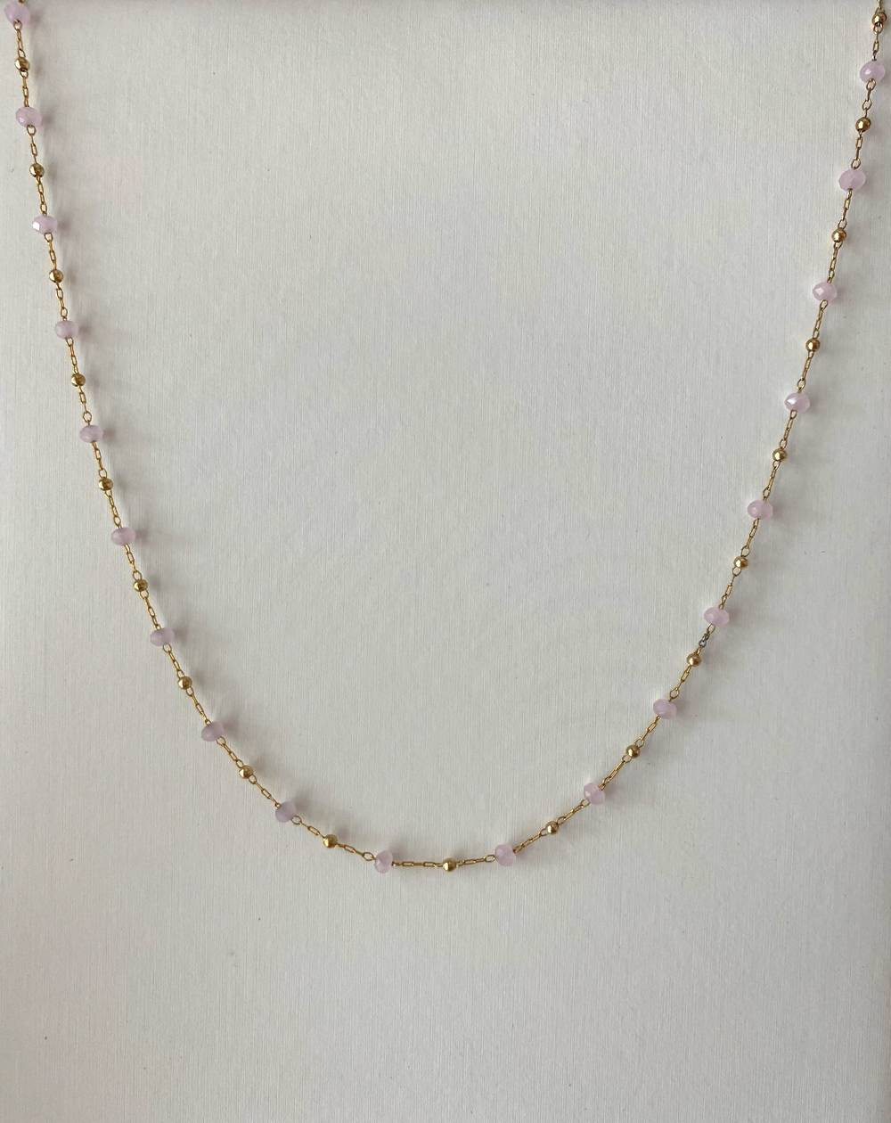 Collier chaîne doré en acier inoxydable perles roses