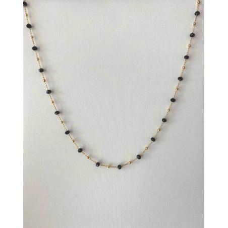 Collier chaîne doré en acier inoxydable perles noires