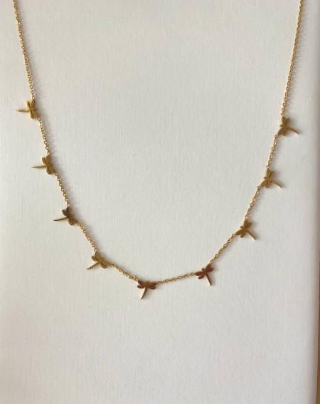 Collier chaîne doré en acier inoxydable aux libellules