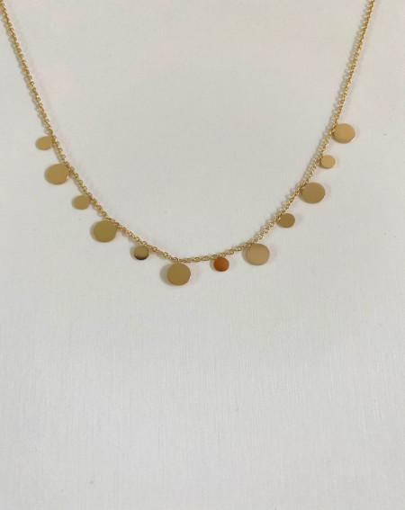 Collier médaillons en acier inoxydable et hypoallergénique doré