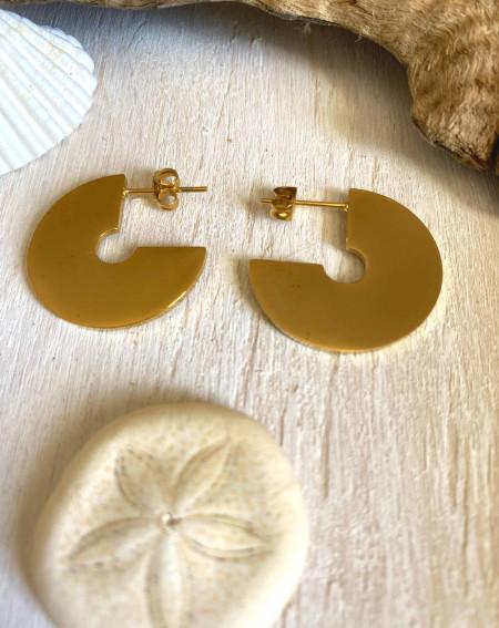 Boucle d'oreilles 3/4 de lune dorées an acier inoxydable