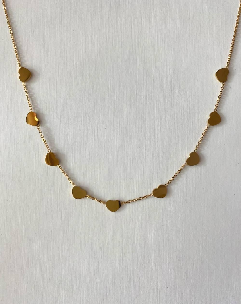 Collier médaillons coeur dorés en acier inoxydable et hypoallergénique