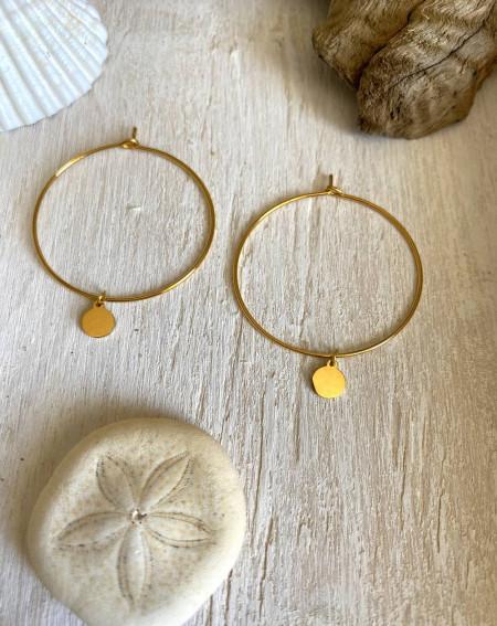 Boucle d'oreilles créoles au médaillon en acier doré