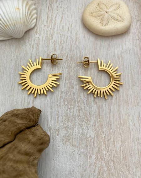 Boucle d'oreilles soleil doré en acier inoxydable et hypoallergénique