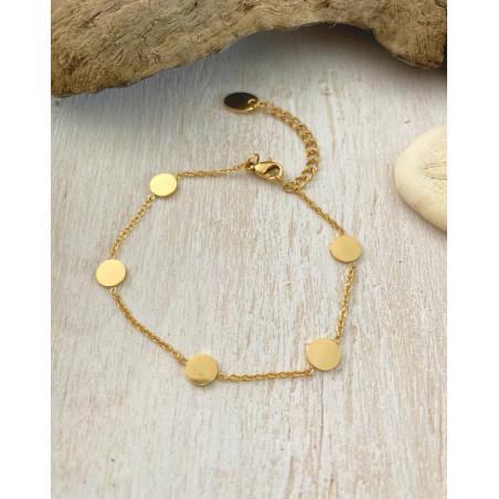 Bracelet avec médailles coloris doré en acier inoxydable
