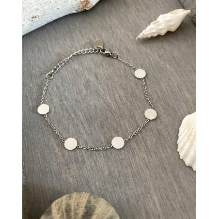 Bracelet médailles coloris argenté en acier inoxydable
