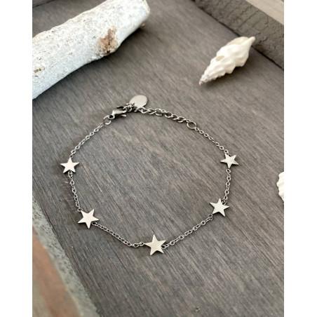 Bracelet aux étoiles coloris argenté en acier inoxydable