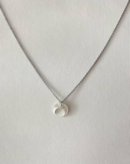 Collier fantaisie croissant de lune en nacre et chaîne argenté