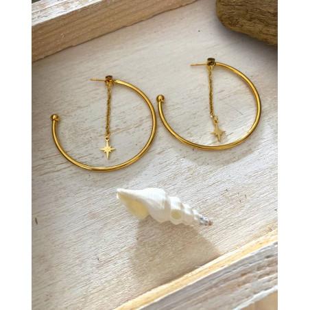 Boucles d'oreilles créoles au pendentif étoile du nord dorées