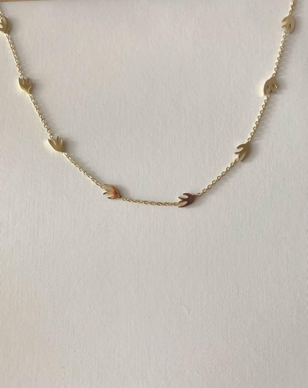 Collier chaîne aux hirondelles doré en acier inoxydable