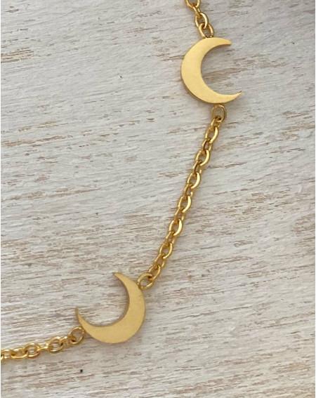Bracelet aux quartiers de lunes coloris doré