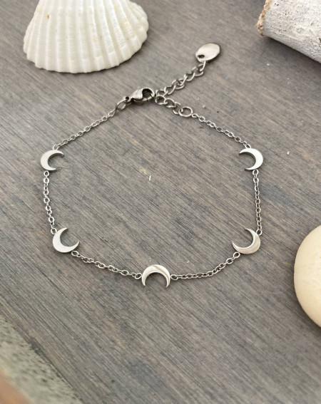 Bracelet aux lunes coloris argenté en acier inoxydable