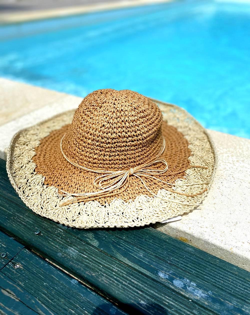 Chapeau bohème bi-colore pour femme en paille camel et naturel