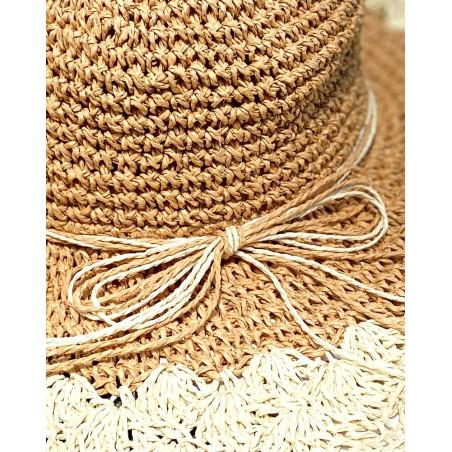 Chapeau bi-colore pour femme en paille camel et naturel