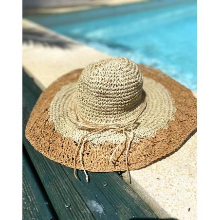 Chapeau d'été bi-colore pour femme en paille naturel et marron