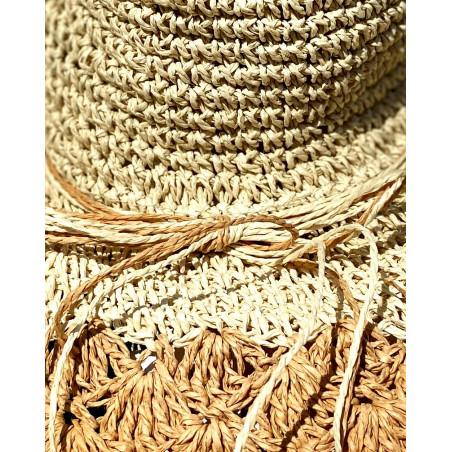 Chapeau bi-colore pour femme en paille naturel et marron