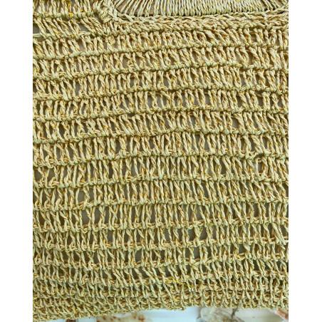 Sac en paille tressée coloris naturel avec liseré doré