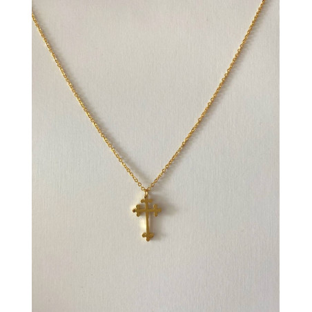 Collier pendentif croix orthodoxe orientale dorée