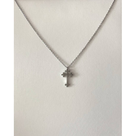 Collier pendentif croix orthodoxe orientale argentée