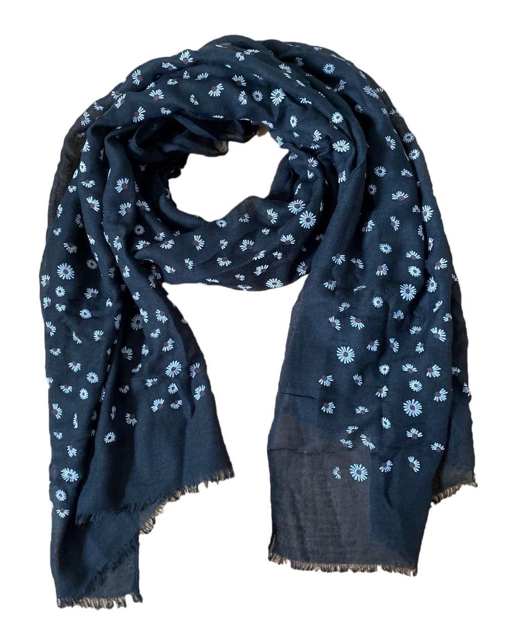 Foulard noir aux motifs fleurs