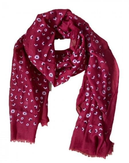 Foulard bordeaux aux motifs fleurs