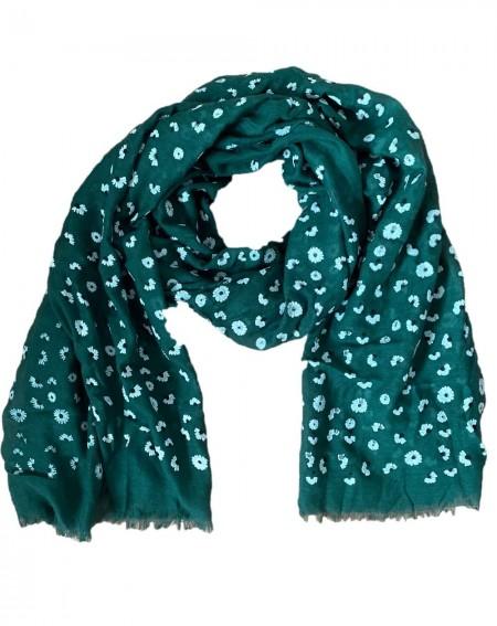 Foulard vert aux motifs fleurs