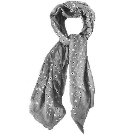 Foulard gris aux motifs fleurs