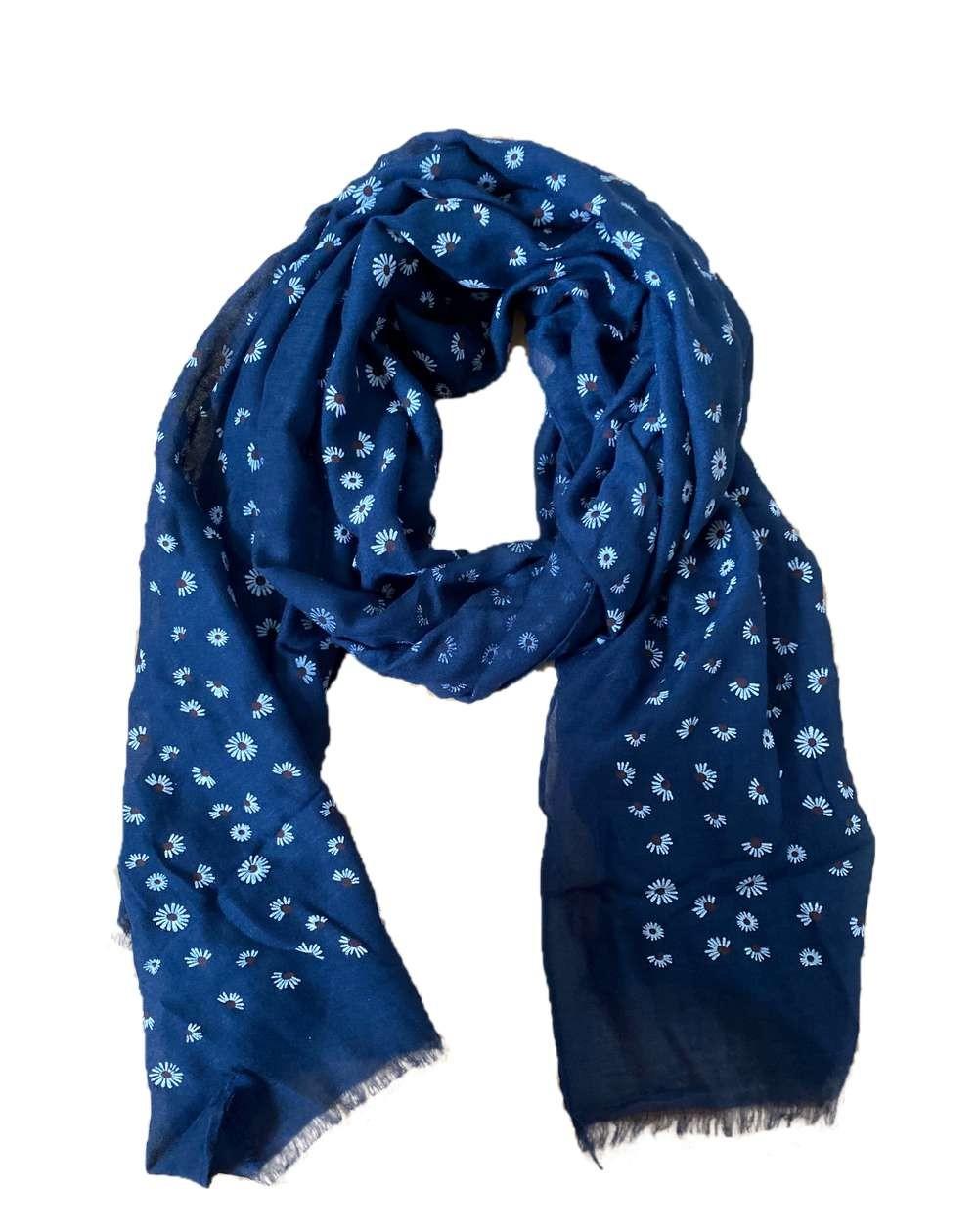 Foulard bleu marine aux motifs fleurs noires
