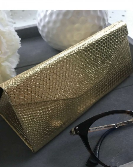 Boîte à lunettes pliable et élégant coloris doré brillant