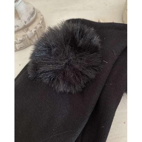 Gants femme au pompon fourrure noir