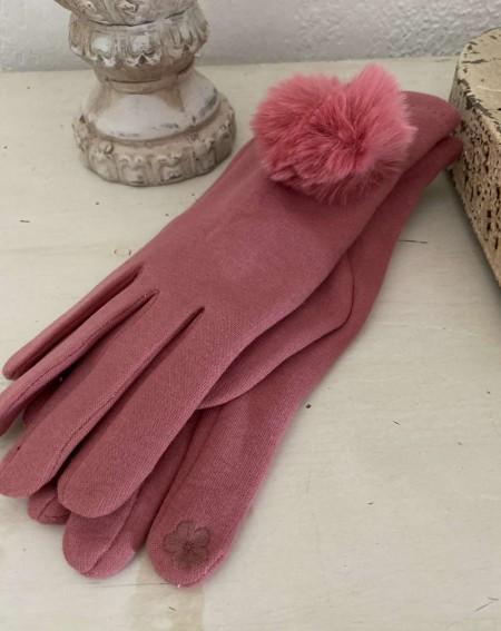 Gants femme au pompon fourrure rose