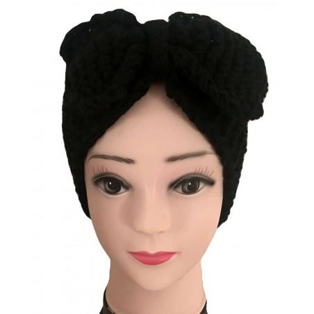 Bandeau noeud cheveux tendance coloris noir