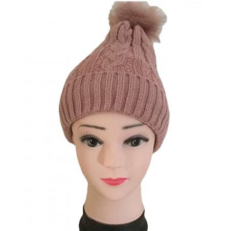 Bonnet femme à pompon coloris vieux rose
