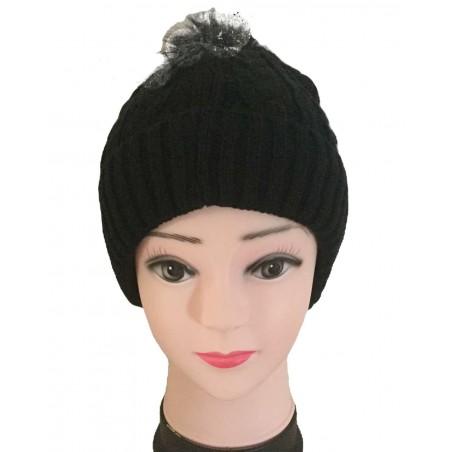 Bonnet femme à pompon coloris noir