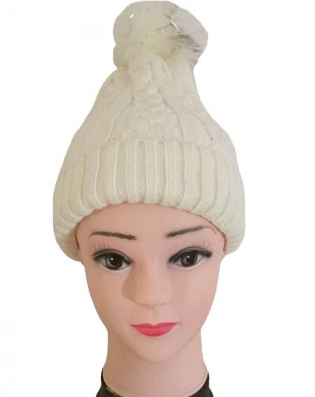 Bonnet femme à pompon coloris blanc