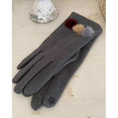 Gants femme coloris gris aux 3 pompons