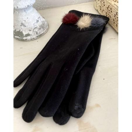 Gants femme coloris noir aux 3 pompons