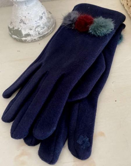 Gants femme coloris bleu marine aux 3 pompons