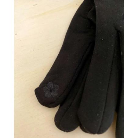 Gants femme coloris noir avec moumoute style mouton frisé