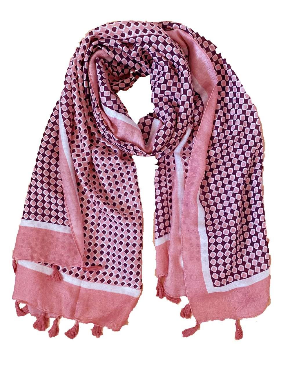 Étole à pompons pour femmes à motifs roses, mauve et blancs