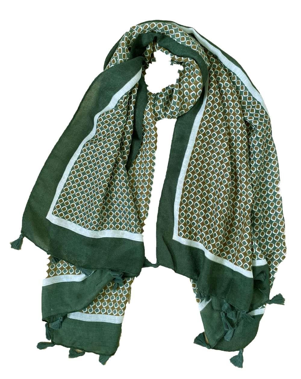 Étole à pompons pour femmes à motifs kaki, camel et blancs