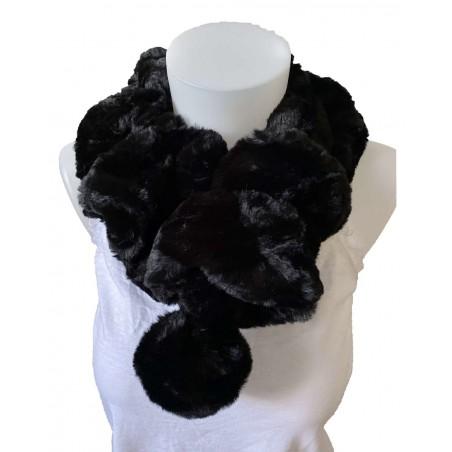 Écharpe tour de cou élastique en fourrure de lapin coloris noir