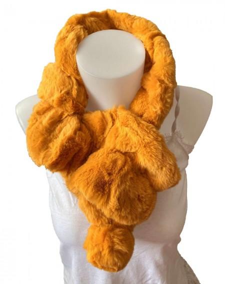Écharpe tour de cou élastique en fourrure de lapin coloris moutarde