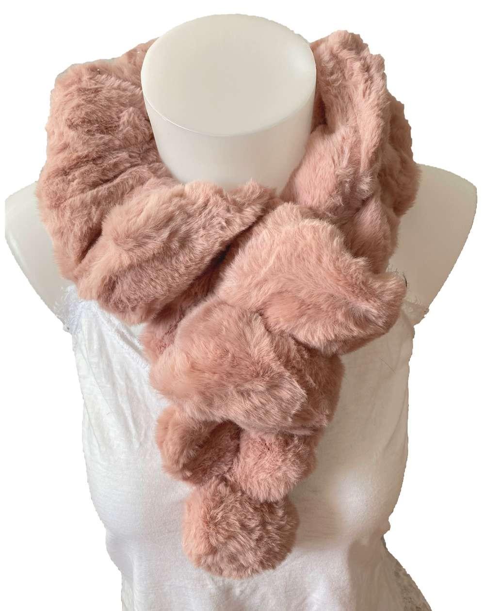 Écharpe tour de cou élastique en fourrure de lapin coloris rose