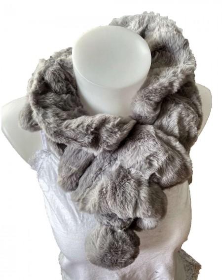 Écharpe tour de cou élastique en fourrure de lapin coloris gris