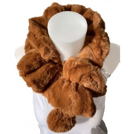Écharpe tour de cou élastique en fourrure de lapin coloris camel