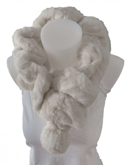 Écharpe tour de cou élastique en fourrure de lapin coloris blanc cassé