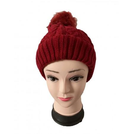 Bonnet femme à pompon coloris bordeaux