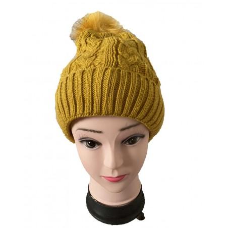 Bonnet femme à pompon coloris moutarde